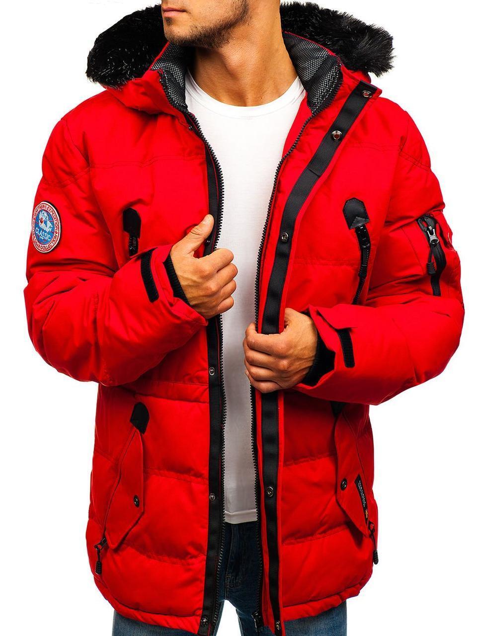 Мужская спортивная зимняя стёганая куртка с капюшоном Красный