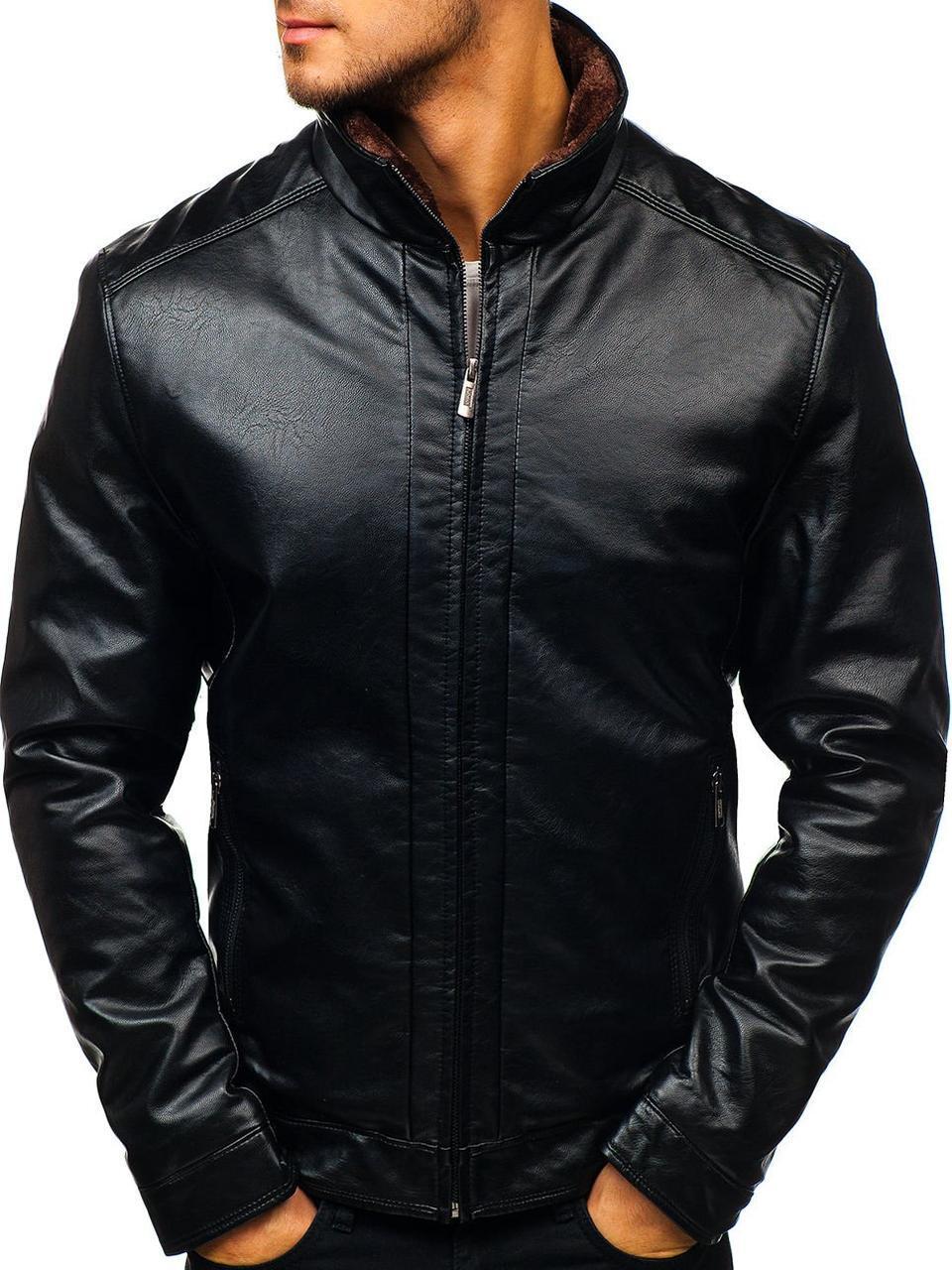 Куртка эко-кожа черная мужская на меху