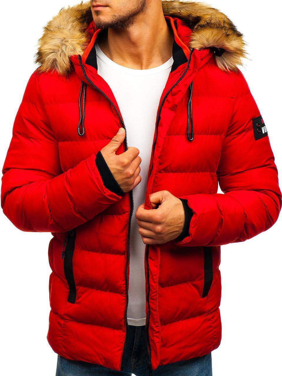 Зимняя стёганая мужская куртка с капюшоном №5 Красный