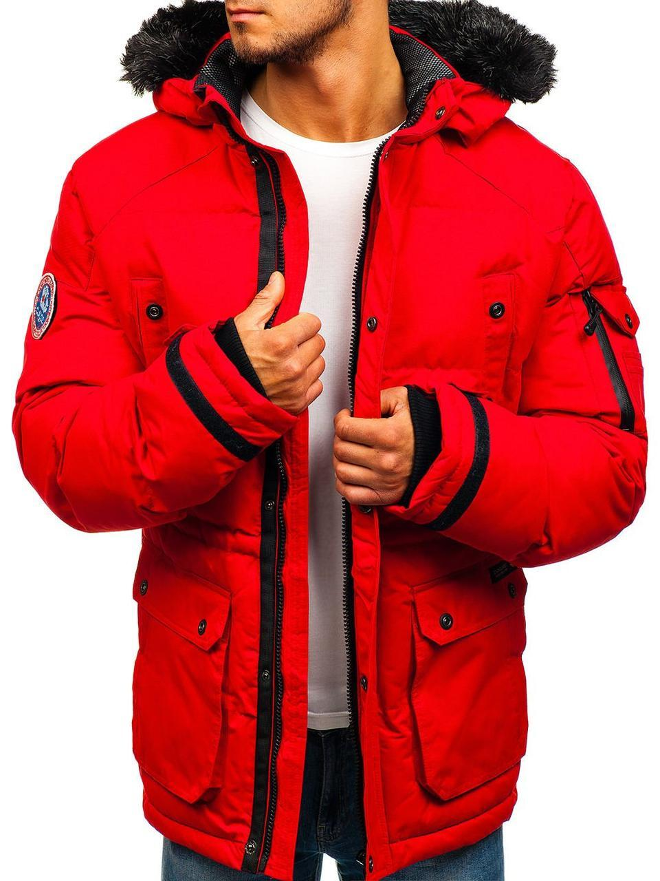 Зимняя стёганая мужская куртка с капюшоном №6 Красный