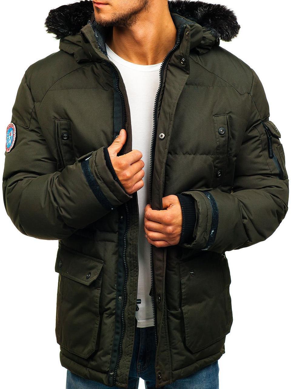 Зимняя стёганая мужская куртка с капюшоном №6 Зеленый