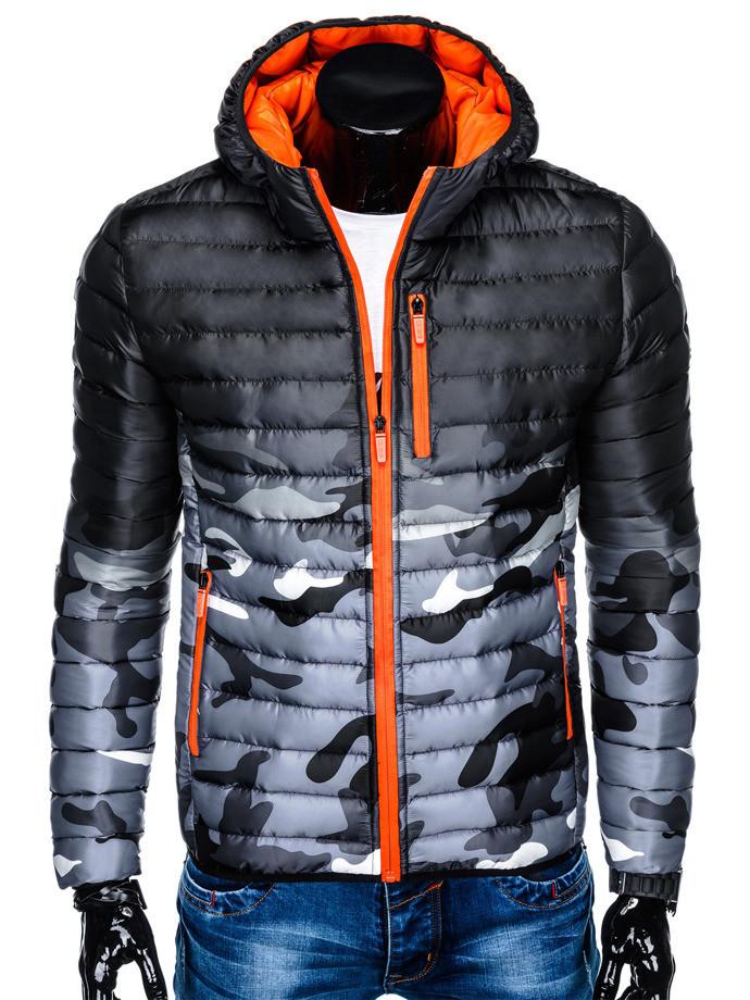 Мужская  молодёжная стёганая куртка Камуфляж оранжевый