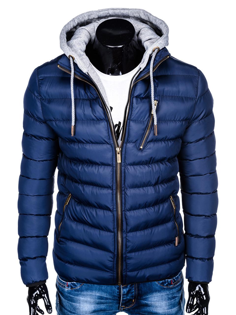 Мужская  молодёжная стёганая куртка с капюшоном Синий