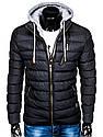 Мужская  молодёжная стёганая куртка с капюшоном Синий, фото 5