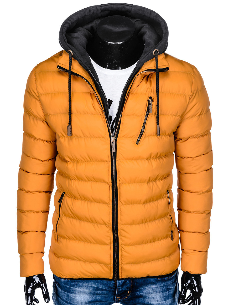 Мужская  молодёжная стёганая куртка с капюшоном Жёлтый