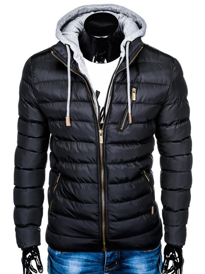 Мужская  молодёжная стёганая куртка с капюшоном Черный