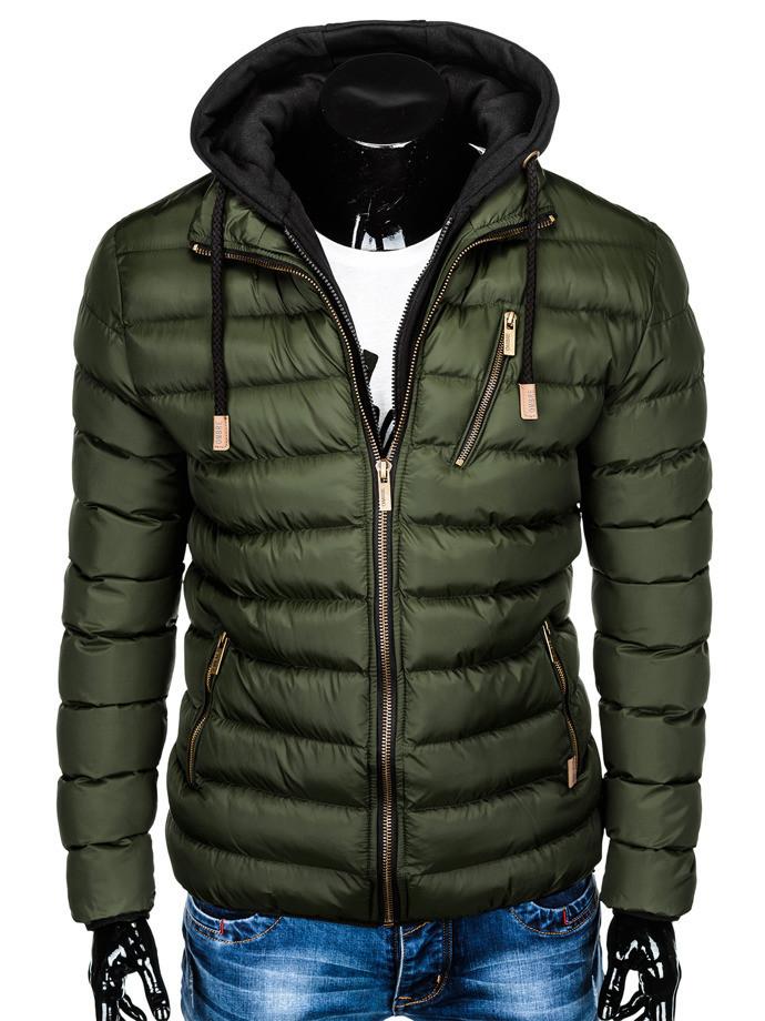 Мужская  молодёжная стёганая куртка с капюшоном Хаки