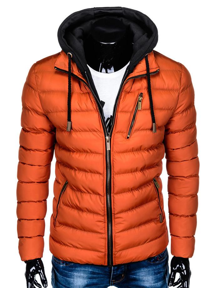Мужская  молодёжная стёганая куртка с капюшоном Оранжевый