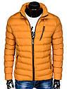 Мужская  молодёжная стёганая куртка с капюшоном Оранжевый, фото 4
