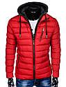 Мужская  молодёжная стёганая куртка с капюшоном Оранжевый, фото 6