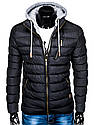 Мужская  молодёжная стёганая куртка с капюшоном Серый, фото 5
