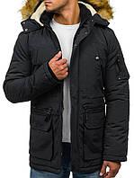 Мужская черная зимняя парка со съёмным  капюшоном  3XL