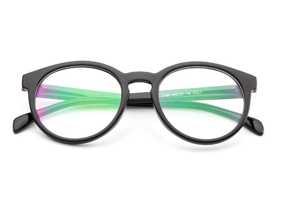 Имиджевые очки с антибликом круглые черный глянцевый