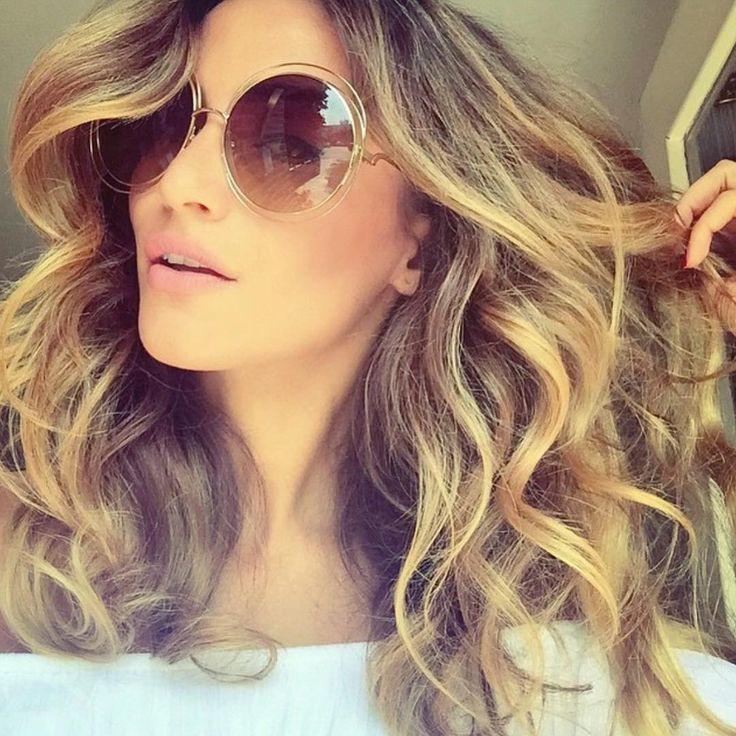 Очки солнцезащитные женские  круглые большие в стиле Chloe Carlina коричневый