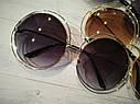Очки солнцезащитные женские  круглые большие в стиле Chloe Carlina коричневый, фото 3