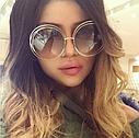 Очки солнцезащитные женские  круглые большие в стиле Chloe Carlina коричневый, фото 4