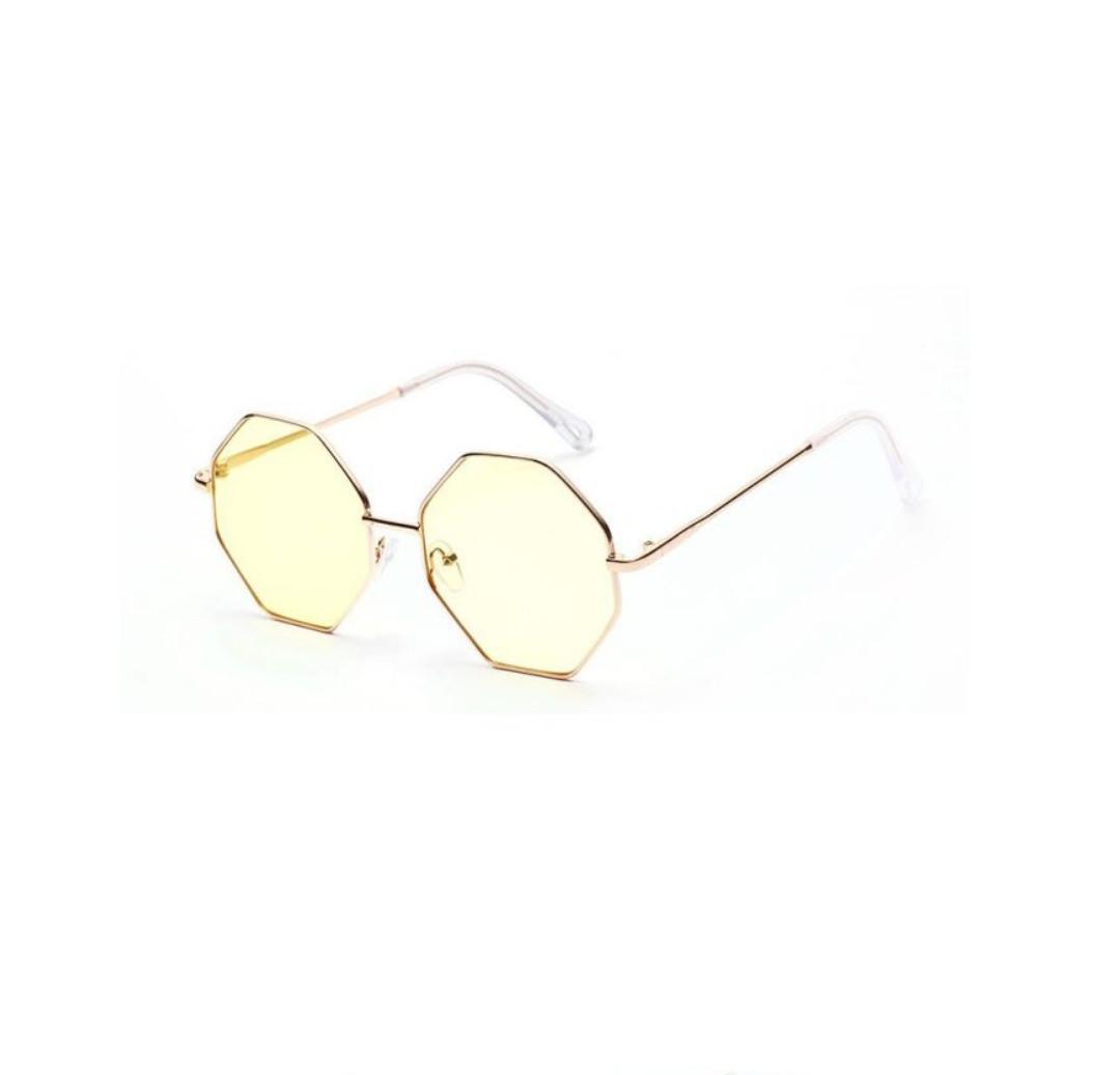 Солнцезащитные очки многоугольник с градиентом розово-синий уценка Желтый