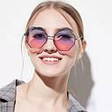 Солнцезащитные очки многоугольник с градиентом розово-синий уценка Желтый, фото 3