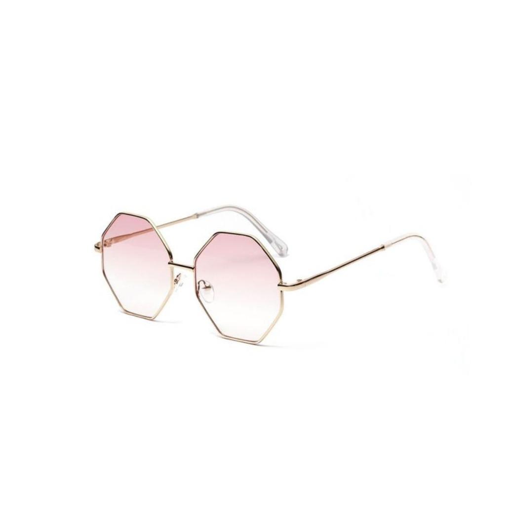 Солнцезащитные очки многоугольник с градиентом розово-синий уценка Розовый
