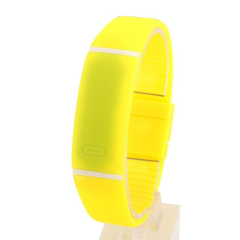 Спортивные силиконовые водонепроницаемые наручные LED часы - браслет 2 в 1 1, Желтый, Унисекс