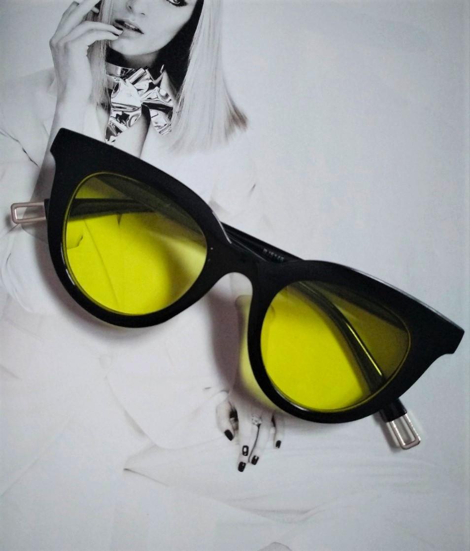Очки солнцезащитные кошачий глаз черный с жёлтым