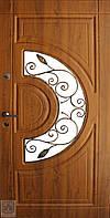 Металлические входные двери Форт-Нокс Акцент с стеклопакетом и ковкой №10