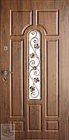 Металлические входные двери Форт-Нокс Акцент с стеклопакетом и ковкой №11