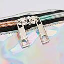 Блестящая женская сумка бананка Голограмма 2, Серебряная, фото 8