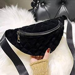 Классическая женская сумка бананка, Черная