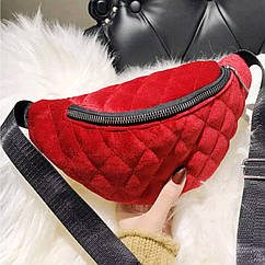 Классическая женская сумка бананка, Красная