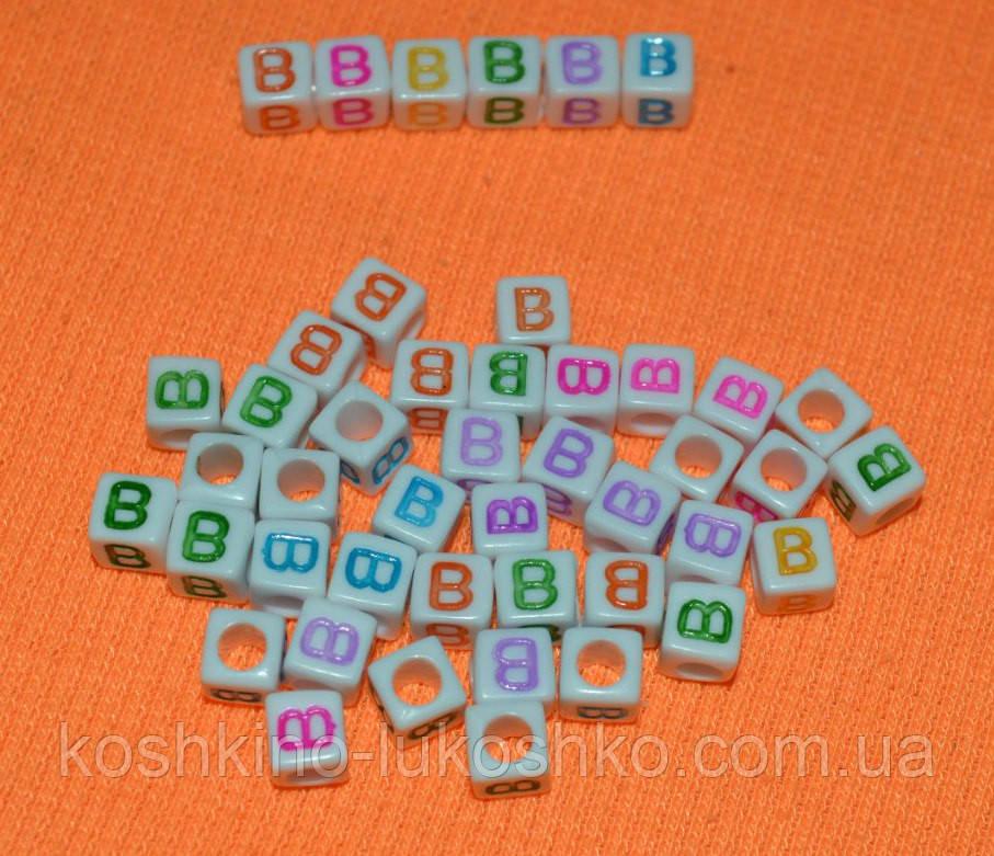 """Намистини алфавіт на білому тлі """"B"""" 6 мм"""