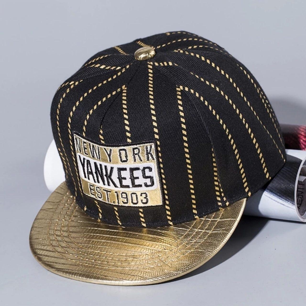 Детская кепка снепбек Yankees с прямым козырьком Золотая, Унисекс