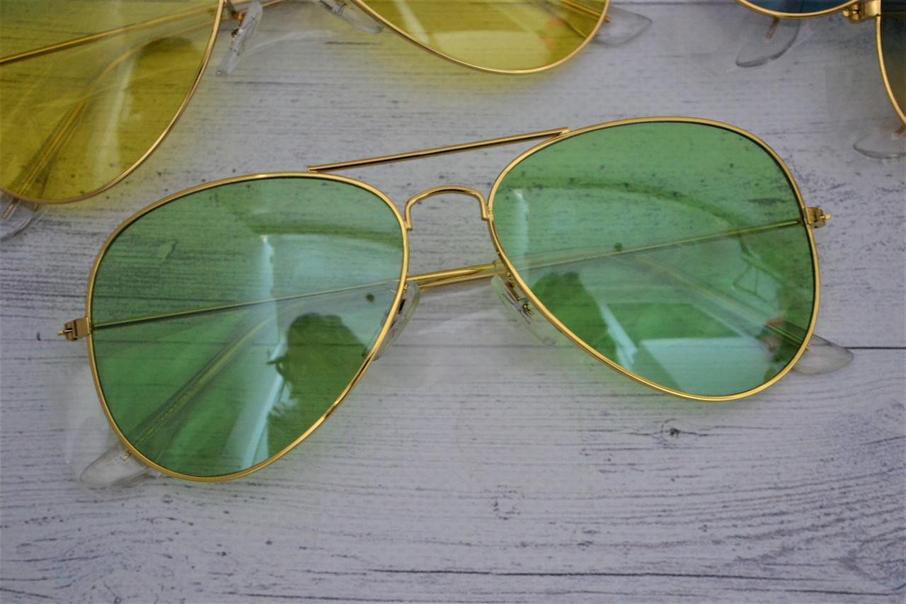 Солнцезащитные очки авиаторы капли Зелёный