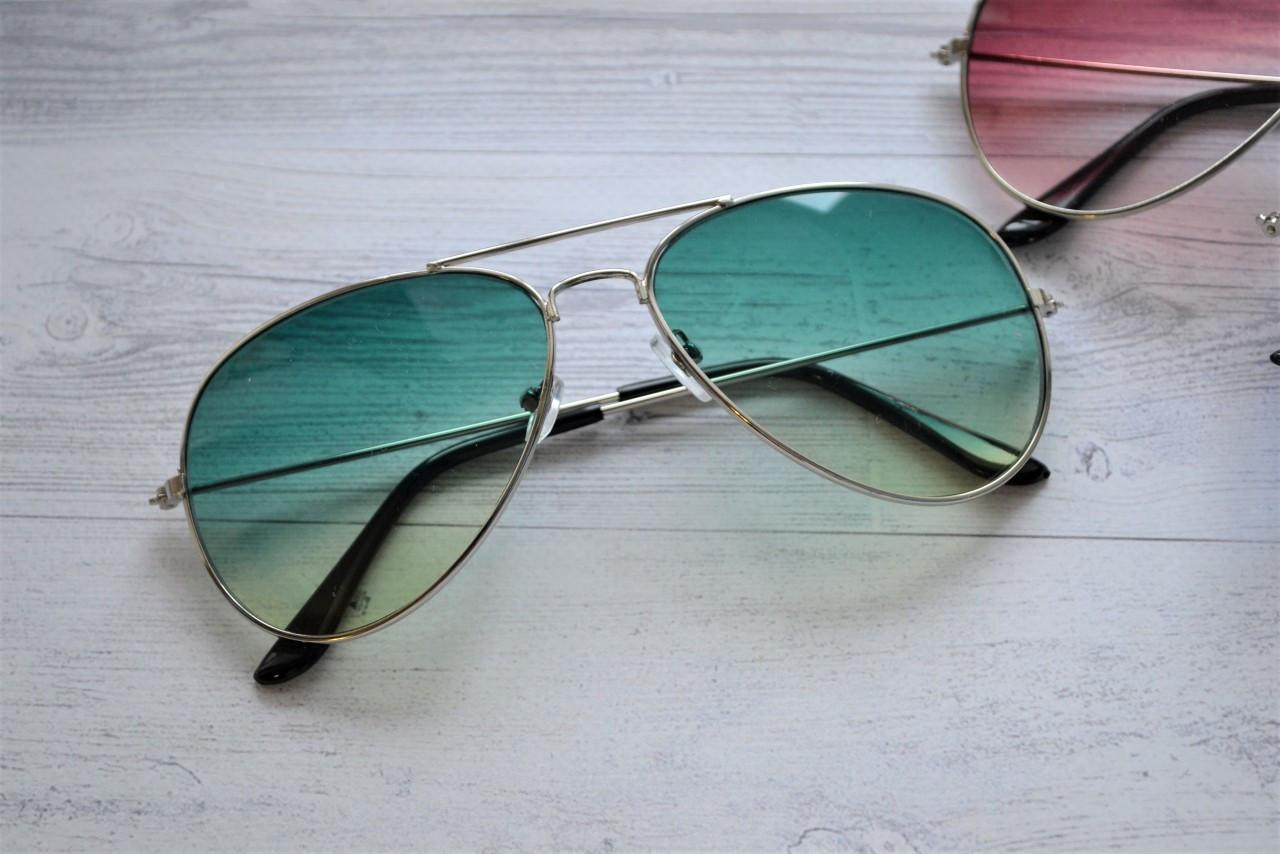 Солнцезащитные очки авиаторы капли Зелено-желтый