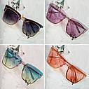 Солнцезащитные очки кошачий глаз с градиентом    Голубой, фото 3