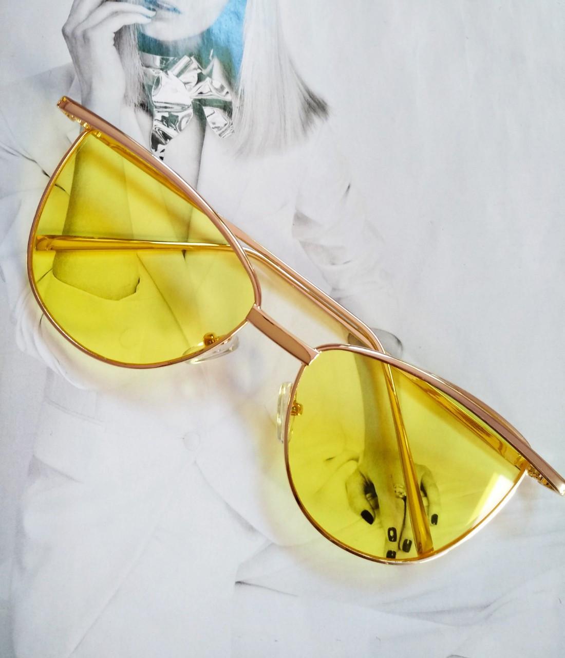 Солнцезащитные женские очки кошачий глаз Жёлтый