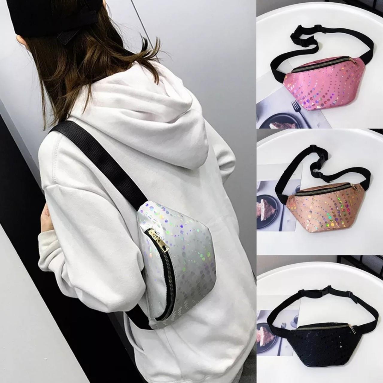 Жіноча сумка бананка (Кружечки) 1 Чорна