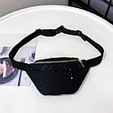 Жіноча сумка бананка (Кружечки) 1 Чорна, фото 3