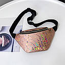 Женская сумка бананка (Кружочки), Розовая 1, фото 6