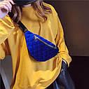 Классическая женская сумка бананка, Синяя 1, фото 8
