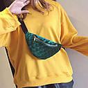 Классическая женская сумка бананка, Синяя 1, фото 9