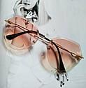 Солнцезащитные очки авиаторы капли с градиентом прозрачный, фото 5