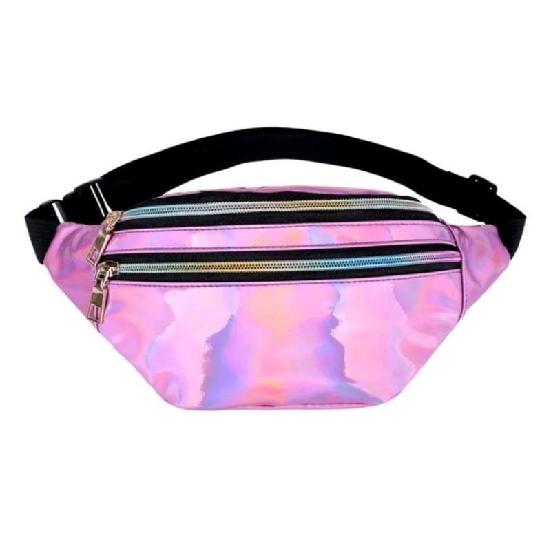 Блестящая женская сумка бананка Голограмма 3, Розовая