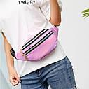 Блестящая женская сумка бананка Голограмма 3, Розовая, фото 10