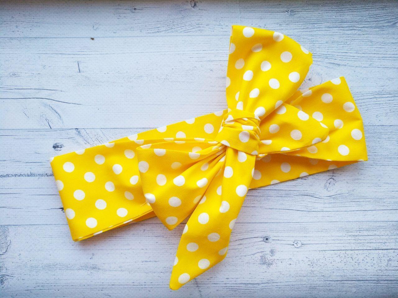 Повязка на голову для девочки солоха большой бант в горошек  жёлтый