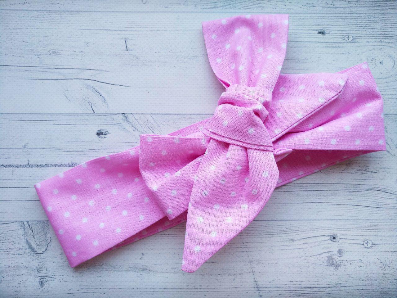Повязка на голову для девочки солоха большой бант розовая в белый  горошек