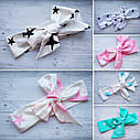 Повязка на голову для девочки солоха большой бант белая в розовых звездах, фото 6