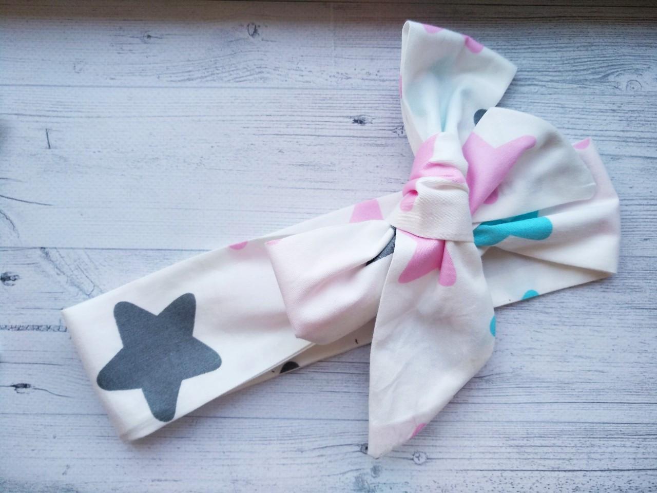 Повязка на голову для девочки солоха большой бант с рисунком звезда розовая+серая+голубой