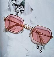 Солнцезащитные многоугольные очки  с цветной линзой розовый 2