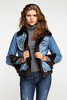 Джинсовая куртка с мехом норки